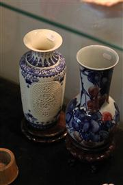 Sale 8047 - Lot 90 - Blue & White Chinese Reticulated Vase w/ Insert on stand, plus Another