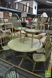 Sale 8406 - Lot 1128 - Set of 6 Green Chairs and an Extension Table