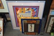 Sale 8506 - Lot 2065 - Collection of Artworks incl Printed Flower Canvas