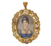 Sale 8547 - Lot 430 - AN 18CT GOLD FRAMED JEWELLED MINATURE PENDANT/BROOCH; featuring a painted portrait of a lady embellished with 2 rubies and single cu...
