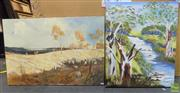 Sale 8563T - Lot 2098 - 2 Works: Artists Unknown, Country Scene and Landscape, 50 x 75cm; 60 x 50cm, signed & Another -