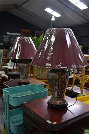 Sale 8566 - Lot 1630 - Pair of Royal Satsuma Style Table Lamps (4149)