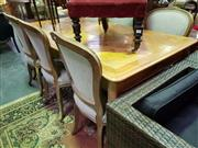 Sale 8657 - Lot 1036 - French Pine Marquetry Top Table Together with Set of Six Oak & Linen Upholstered Chairs
