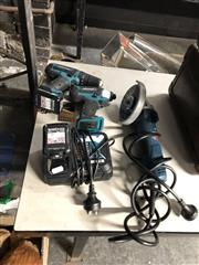 Sale 8836 - Lot 2396 - Makita HP331D brushless drill and TD110D brushless driver with 2x BL1021B 12V batteries and charging stations. Plus a Bosch corded g...