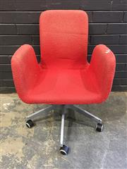 Sale 9006 - Lot 1040 - Canadian Fabric Desk Chair (H:82 x W:58 x D:50cm)