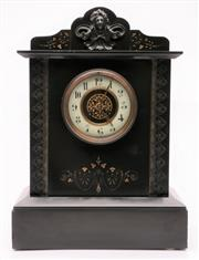 Sale 9070H - Lot 32 - A Late C19th French Slate Mantle Clock Decorated with Fine Gilt Highlights and Bronze Fret Work, with white chapter ring, applied fe...