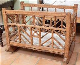 Sale 9120H - Lot 331 - An early Spanish colonial style pine crib on rocking base. Height 67cm x Width 87cm x Depth 62cm