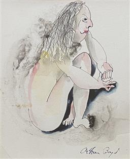 Sale 9123J - Lot 155 - Arthur Boyd Seated Lady mixed media 19x17cm signed lower right
