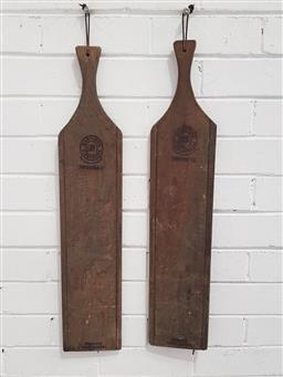 Sale 9137 - Lot 1088 - Pair of timber cheese paddles ( 70 x 14cm)