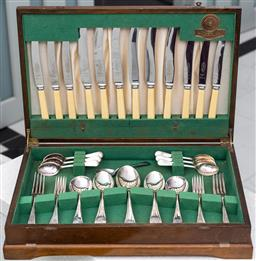 Sale 9162H - Lot 23 - A R&D silverplated cutlery set in canteen