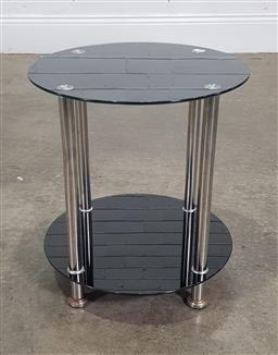 Sale 9188 - Lot 1264 - Chrome and glass circular side table (h:44 x d:40cm)
