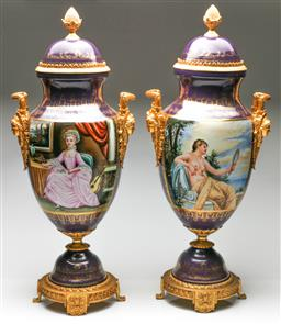 Sale 9192 - Lot 50 - A Pair of Large Sevres Style Urns With Twin Figural Handles and Depicting Posing Women (H:70.5cm)