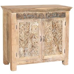Sale 9216S - Lot 55 - A white washed timber carved two door cabinet, Height 102cm x Width 112cm x Depth 43cm