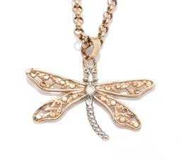 Sale 9253J - Lot 431 - A 9CT GOLD PENDANT NECKLACE; dragonfly pendant with pierced wings and white gold highlights, size 20 x 25mm, on belcher link chain t...