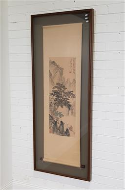 Sale 9255 - Lot 1361 - Framed Chinese scroll (h:176 x w:70cm)