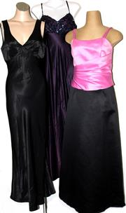 Sale 8134B - Lot 305 - THREE LONG EVENING GOWNS; Mari Gourlay in pink and black (12), De-Laru by Linda Bernell in dark purple with sequined top (7/8), and...