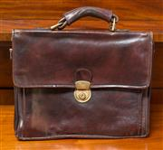 Sale 8261A - Lot 68 - A quality English made burgundy leather business bag, Ex. Lothan & Borders Police UK, overall size: 32 x 40 cm