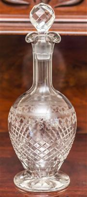 Sale 8284A - Lot 25 - An Edwardian cut and etched crystal Pall Mall decanter Ht: 31cm
