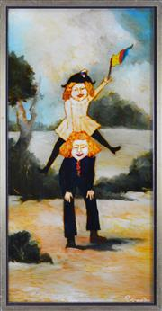 Sale 8295 - Lot 29 - Geoffrey Proud (1946 - ) - Leap Frog - Ruth and Soldier, 1970 75 x 37.5cm