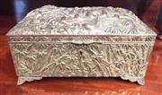 Sale 8319 - Lot 422 - A Japanese antimomy casket with hinge cover decorated overall with Chrysanthemum