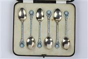 Sale 8425 - Lot 53 - English Hallmarked Sterling Silver George V Enamelled Coffee Spoons