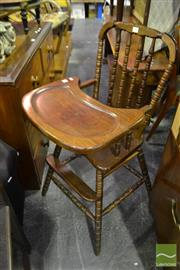 Sale 8472 - Lot 1090 - Timber Spindle Back High Chair
