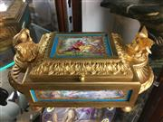 Sale 8730B - Lot 36 - C19th Bronze Ormolu Jewellery Casket with Sevres Inserts and Original Kid Leather Lining W: 28cm