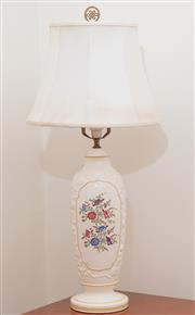 Sale 8891H - Lot 47 - A creamware transfer printed lamp with floral decoration. Total height 67cm.
