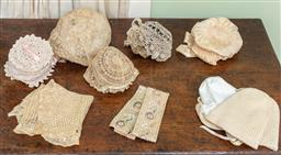Sale 9120H - Lot 332 - A group of antique lace and crocheted baby bonnets.
