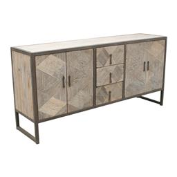 Sale 9216S - Lot 30 - A reclaimed elm sideboard with four doors and three drawers in metal frame, Height 86cm x Width 180cm x Depth 45cm
