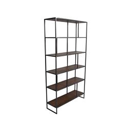Sale 9245T - Lot 72 - An industrial inspired large display / bookcase made with reclaimed timber & aged pewter metal frame. Dimensions: H 189 x W 100 x D...