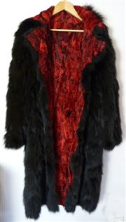 Sale 7982B - Lot 114 - Full length reversible fur coat with clasp fasteners (M)
