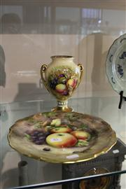 Sale 8098 - Lot 85 - Aynsley Vase Decorated with Fruit, & Another Cabinet Plate Decorated with Fruit
