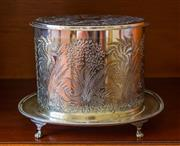 Sale 8270 - Lot 54 - Quality James Dixon & Sons silverplate oval biscuit barrel, the sides & lid extensively decorated with ferns, raised on 4 bracket pa...