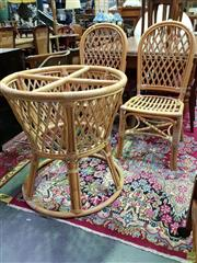 Sale 8562 - Lot 1039 - Pair of Cane Chairs & Table Base (3) - no top