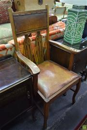 Sale 8566 - Lot 1537 - Timber Framed Armchair with Leather Seat