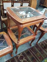 Sale 8593 - Lot 1092 - Pair of Glass Insert Side Tables