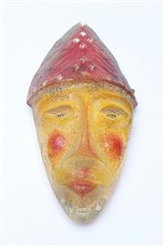 Sale 8681 - Lot 14 - Kitsch Mexican Coloured Glass Clown Wall Feature