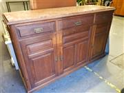 Sale 8782 - Lot 1758 - Early 20th Century French Oak Sideboard, with rouge marble top, three drawers & three panel doors