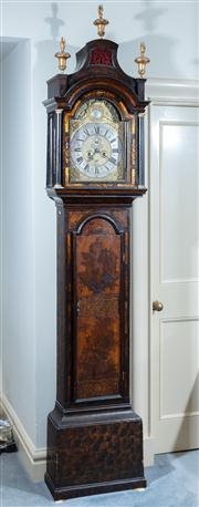 Sale 8815A - Lot 22 - A Georgian longcase clock by Stephen Wilmshurst of Odiham, the oak case with Japanned decoration depicting a classical scene, the si...