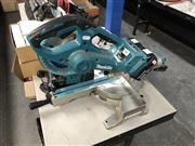 Sale 8836 - Lot 2401 - Makita DLS714 brushless sliding compound saw, and DJV182 cordless jigsaw with 2x batteries and charging station, all working