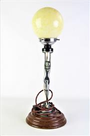 Sale 8873 - Lot 10 - Art Deco Lady Forn Table Lamp with Later Glass Ball Shade (H54cm)