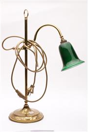 Sale 9035 - Lot 66 - Vintage brass desk lamp with green glass shade (H51.5cm)