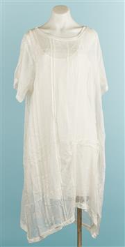 Sale 9071F - Lot 64 - A JOHNNY WAS TENT DRESS; in sheer white, scoop neck and with spaghetti strap slip,  size 10
