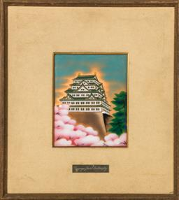 Sale 9093P - Lot 25 - Ando Cloisonne Picture Panel of Nagoya Palace (33x37cm)