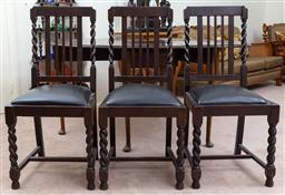 Sale 9103M - Lot 738 - A collection of three oak dining chairs with barley twist features and drop in seats, Height of back 96cm