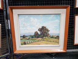 Sale 9127 - Lot 2027 - Rhys Williams  Across the Fields, oil on canvas on board, (a. f.), frame: 51 x 61 cm, signed lower right