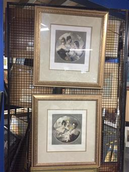 Sale 9130 - Lot 2088 - E. T. Parris (two works)  The Lilly & the Rose of Boudoir  hand coloured mezzotints, frame: 79  74 cm each, together with a decora...