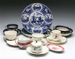 Sale 9144 - Lot 228 - Blue and white cabinet plates (2) (Dia:25cm) together with 3 duos inc Booths, a coupe and a Spode creamer and dish