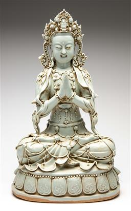 Sale 9209V - Lot 92 - A large Chinese ceramic Buddha seated in lotus base (H:59cm)